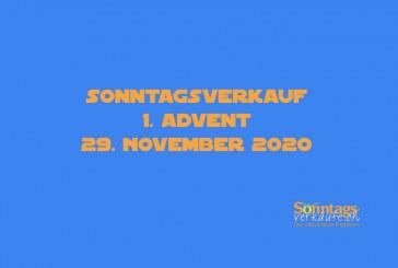 Sonntagsverkauf, 29. November 2020, 1. Advent mit Öffnungszeiten